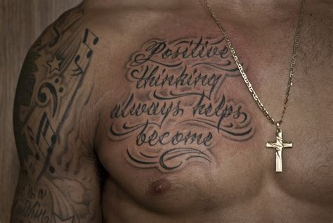 custom script tattoo on the chest chronic ink