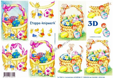 Easter Decoupage - easter baskets with eggs flowers bunny rabbits 3d