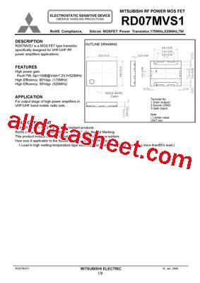 Rd07mvs1 Rd07mvs1 Datasheet Pdf Mitsubishi Electric Semiconductor