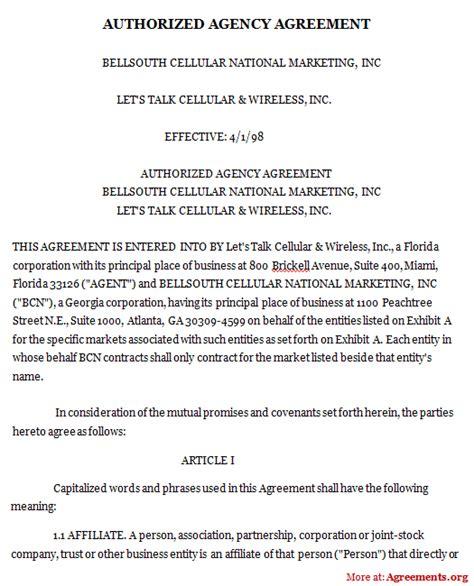 Authorized Agency Agreement Sle Authorized Agency Agreement Real Estate Agency Agreement Template