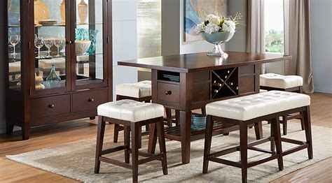 Julian place chocolate vanilla 6 pc counter height dining room dining room sets dark wood