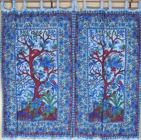 indian curtain fabric eclectic indian curtain panels tree of life window