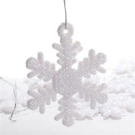 miniature white iridescent snowflake ornaments christmas