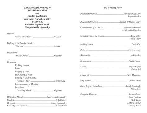 Wedding Program Templates Wedding Programs Fast One Page Program Template