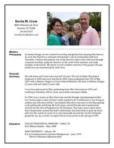 examples of a ministry resume - Sample Pastoral Resume