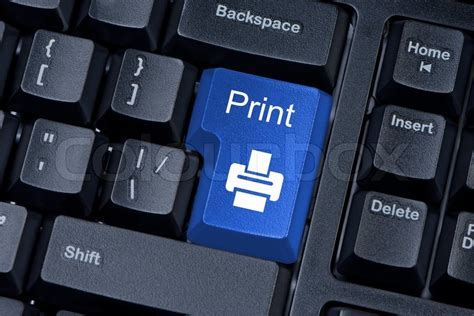 print blue button computer keyboard internet concept