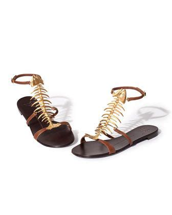 Jones Fish Sandals At Begdorf by Giuseppe Zanotti Fish Bone Flat Sandal Brown Gold 950