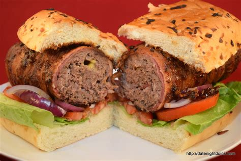 bacon wrapped dogs bacon wrapped stuffed burger dogs our 500th recipe