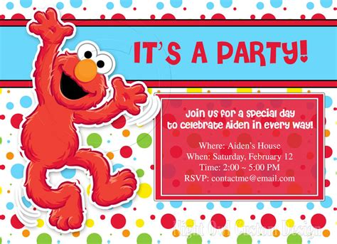 sesame birthday card template elmo invitations invitations templates