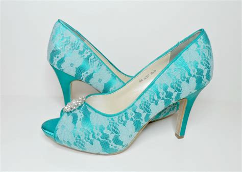 teal wedding shoes teal lace wedding shoes bridal shoes by lambsandivydesigns