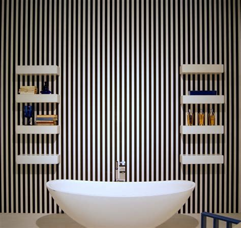 striped wallpaper bathroom hometrotter home style blog casa arredamento design