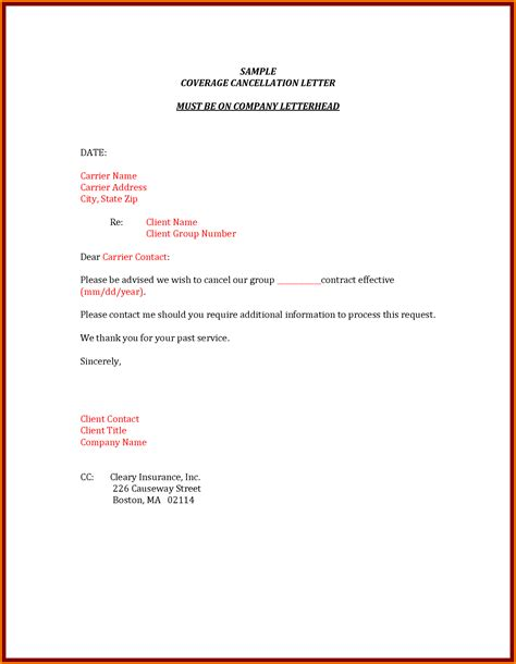 cancellation letter for 10 letter to cancel insurance cashier resume
