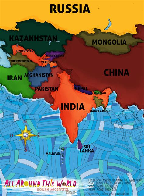 map of central and south asia india for what you teach your matters