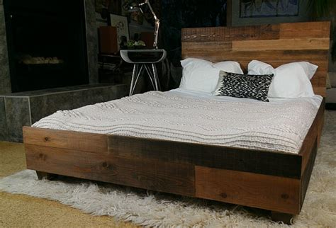 Reclaimed Wood Platform Bed Frame Reclaimed Wood Industrial Platform Bed Frame For The