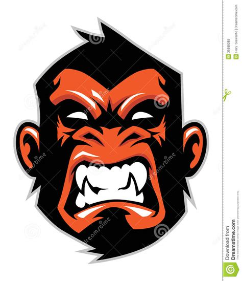 monkey head mascot stock vector illustration of chimp