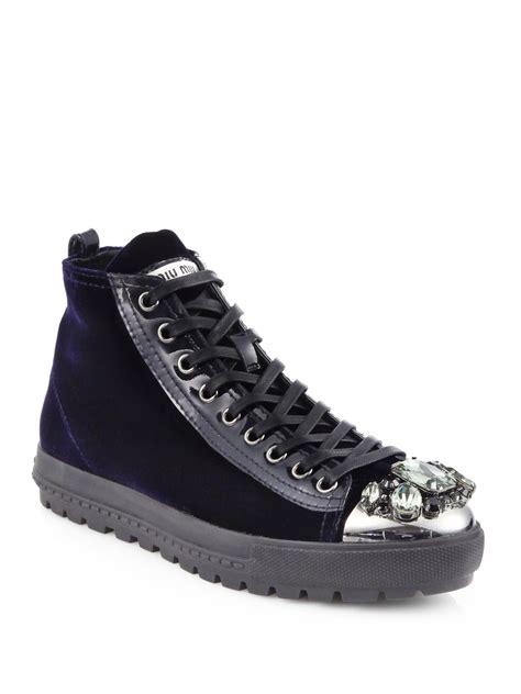 miu miu sneakers miu miu velvet high top sneakers in black lyst