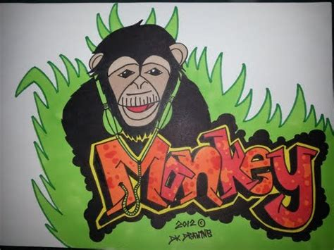 drawing graffiti letters monkey headphones youtube