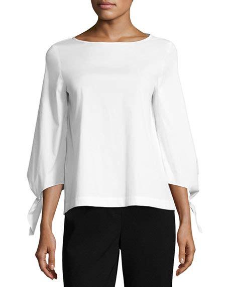 Elaine Blouse lafayette 148 new york elaine tie sleeve stretch cotton