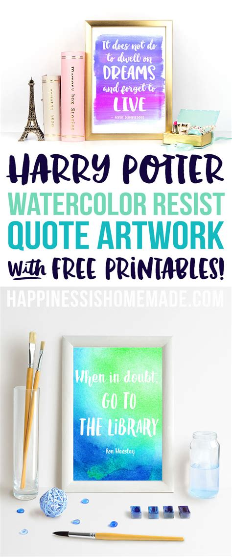 Harry Potter Bathroom Decor by Watercolor Resist Harry Potter Quotes Happiness Is Homemade