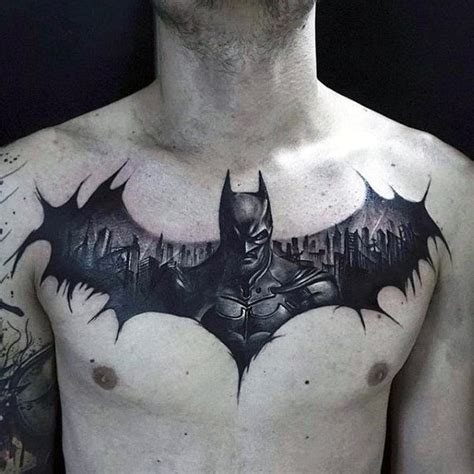 batman chest tattoo 50 batman symbol designs for ink ideas