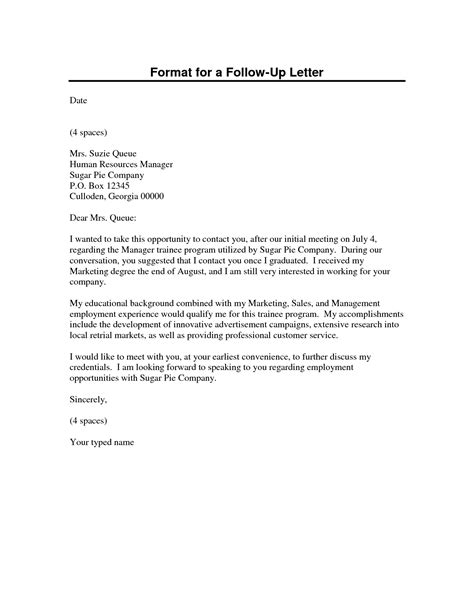 up letter format best photos of meeting follow up letter format sle