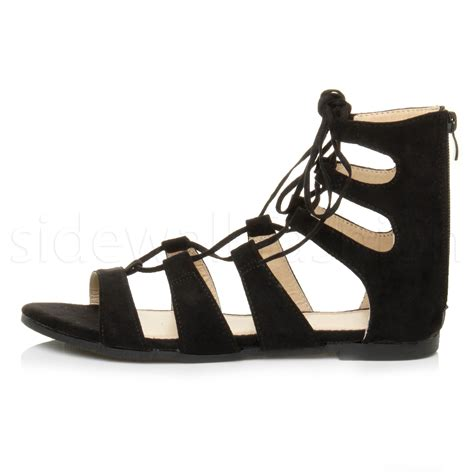 Sandal 12 Size 40 womens flat lace up strappy ankle tie gladiator