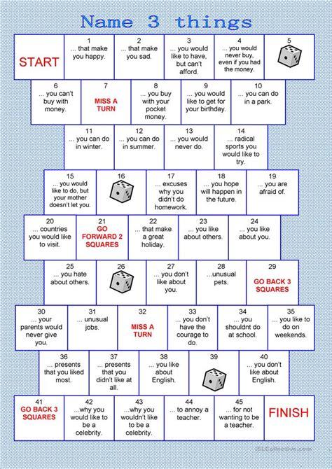 printable english games for adults board game name 3 things worksheet free esl printable