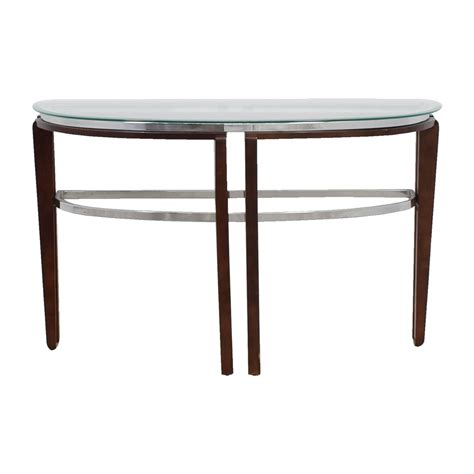 hallway accent tables 48 off glass and wood half hallway table tables