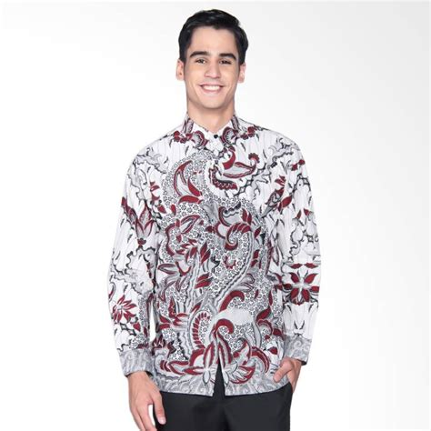 Baju Kemeja Panjang Mix Motif Batik Cowok Pria Laki Laki jual danar hadi print motif parang samudra black mix kemeja batik panjang pria white