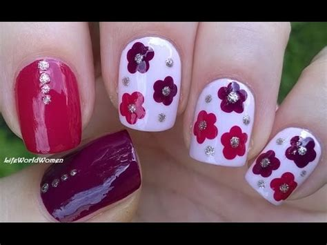 nail art tutorial with dotting tool easy flower nail art tutorial burgundy pink dotting
