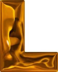 presentation alphabets lumpy gold letter l