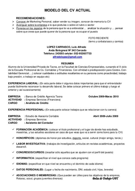 Modelo De Curriculum Vitae Simple Peru 2012 Modelo Cv Actual