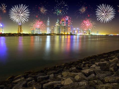 night  dubai united arab emirates stones skyscrapers merry christmas fireworks desktop hd