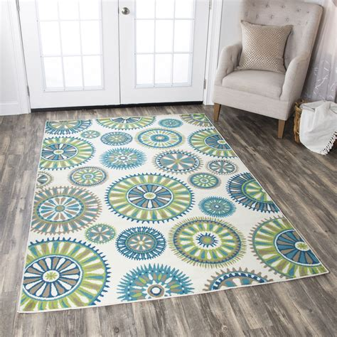 trippy area rugs glendale psychedelic medallion rug in ivory green aqua 5 5 quot x 5 5 quot