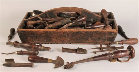 woodworking tool auction lot 691 19th c wooden tool caddy with early tools