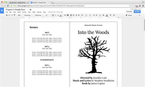 book template docs how to create a show program in docs theaterish