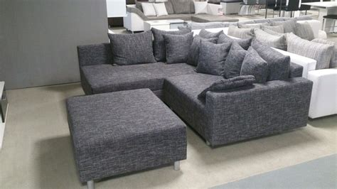 ecksofa mit ottomane links ecksofa mit hocker webstoff grau ottomane links
