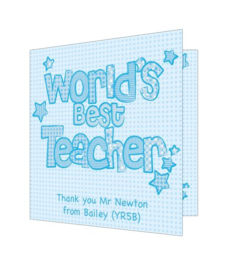 Best Teacher Gift Cards - personalised blue world s best teacher card just for gifts