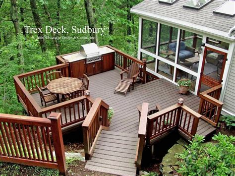 deck in backyard trex patio deck with built in grill trex deck to the