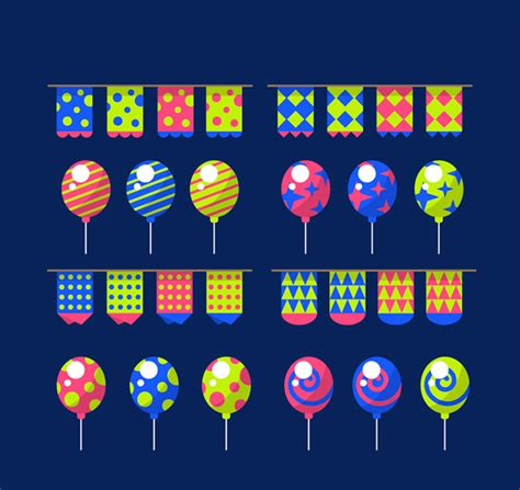 colored flags colored flags and balloons vector ai for free