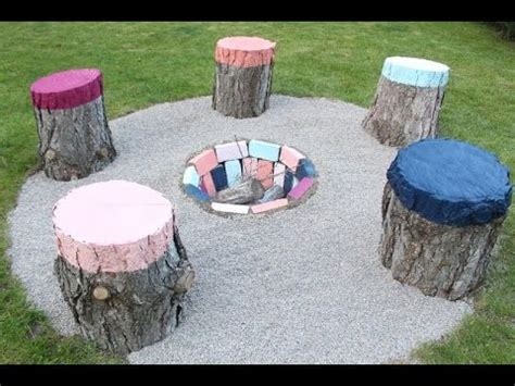 tree stump seats how to create colorful seats from tree stumps