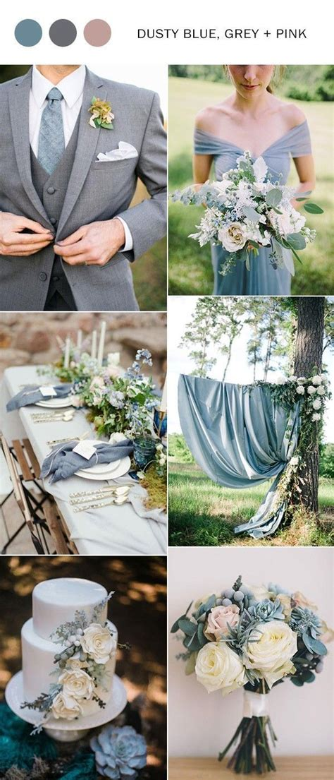 dusty blue  pink wedding color ideas  pink