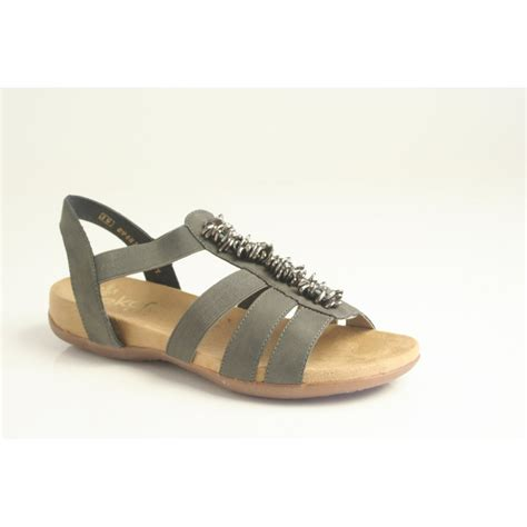 in sandals rieker rieker sandal 60581 45 in grey with metal tag trim