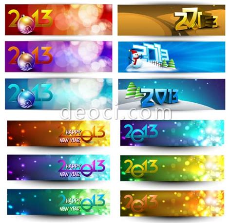 2013 new year banners background vector template free