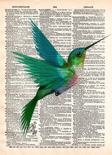libro bird art drawing birds hummingbird art print bird art childrens art vintage dictionary pri loft 817
