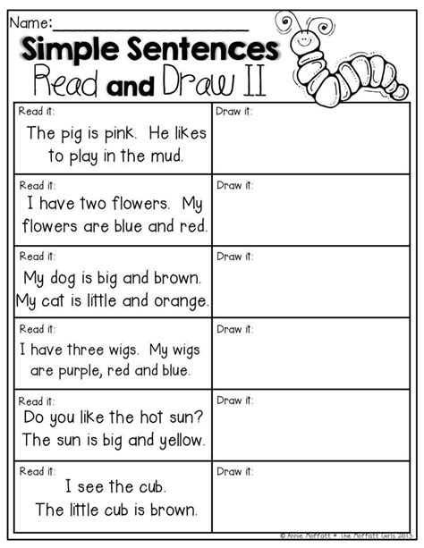 Kindergarten Sentence Writing Worksheets by Read And Draw Simple Sentences For Beginning Readers