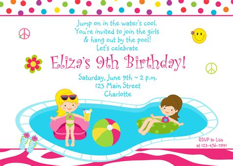 pool party birthday invitation girls pool party zebra