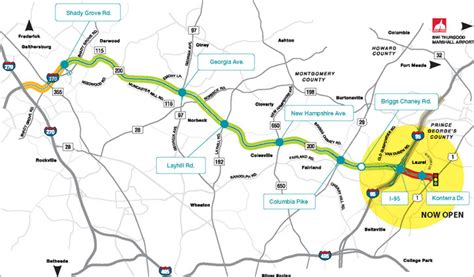 icc maryland map exits intercounty connector