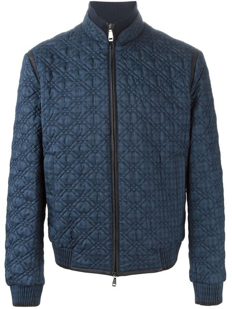 Bomber Quilted Jacket by Brioni Quilted Bomber Jacket In Blue For Lyst