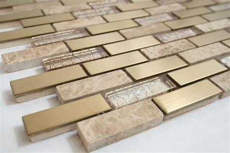 Glass Kitchen Backsplash Tiles brick pattern 5 8 quot x 1 7 8 quot brass metal tile beige